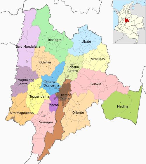mapa cundinamarca colombia