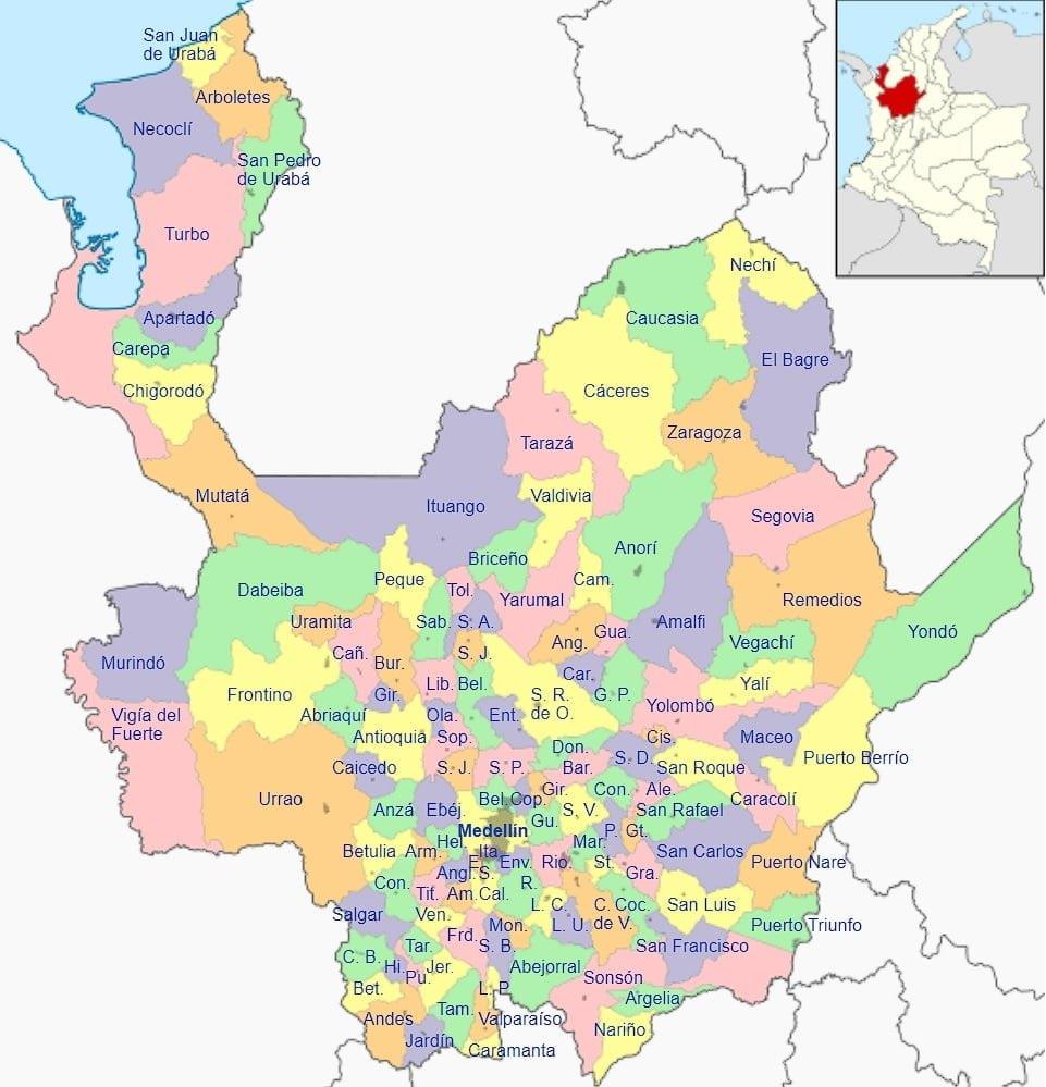mapa departamento antioquia colombia