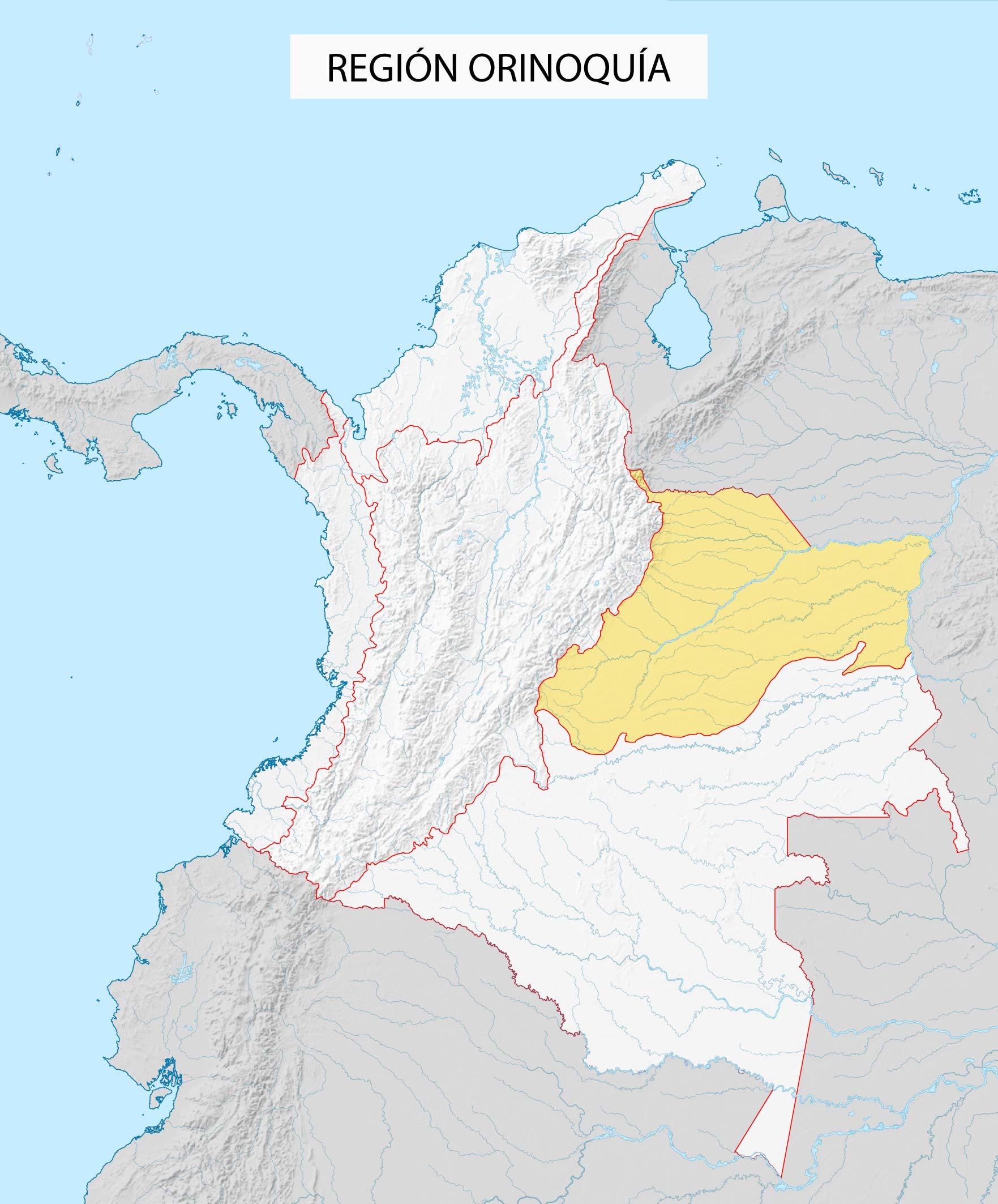 mapa región orinoquía colombia