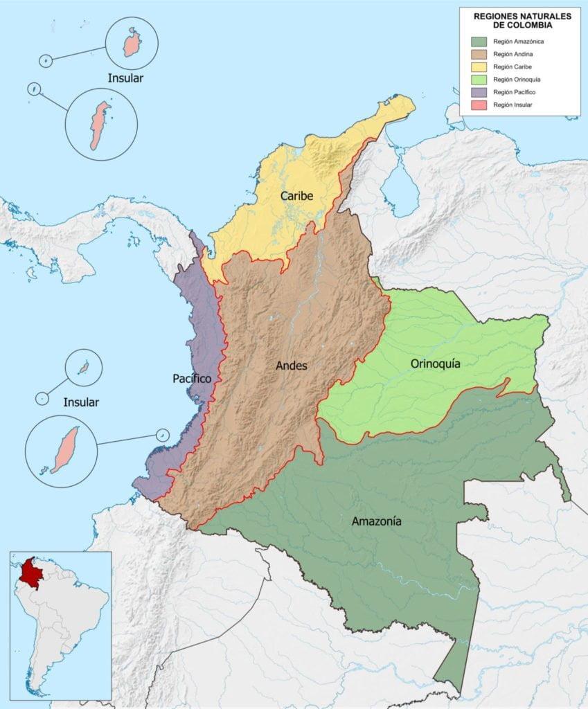 regiones naturales de colombia departamentos y capitales de colombia